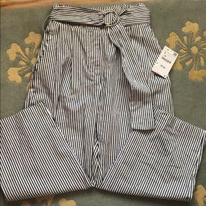 Zara wide leg crop pants navy/white NWT